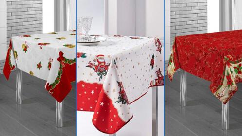 Manteles navideños en 3 diseños diferentes