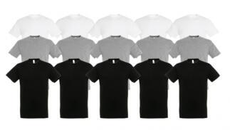 Pack de 5 camisetas unisex 100% Algodón