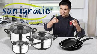 Set San Ignacio: Juego de tres sartenes +  Batería de cocina 5 piezas