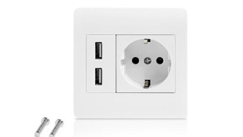 Enchufe de Corriente con 2 USB Integrados
