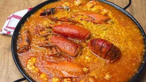 Delicioso arroz con bogavante o paella para dos