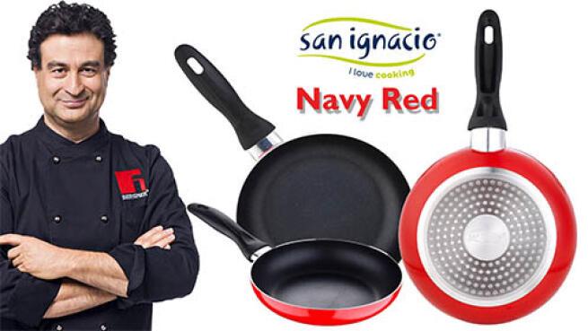 Juego de 3 sartenes de San Ignacio colección Navy Red